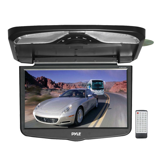 Pyle - PLRD163IF , On the Road , Overhead Monitors - Roof Mount , 16.4'' TFT LCD Flip-Down Roof Mount w/ Built In Multimedia Disc/SD/USB Player w/ Wireless FM Modulator/ IR Transmitter