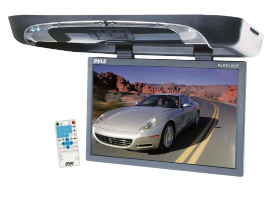 Pyle - PLRD195IF , On the Road , Overhead Monitors - Roof Mount , 19'' Flip Down w/ Built In Multimedia Disc/SD/USB Player w/ Wireless FM/ Modulator & IR Transmitter