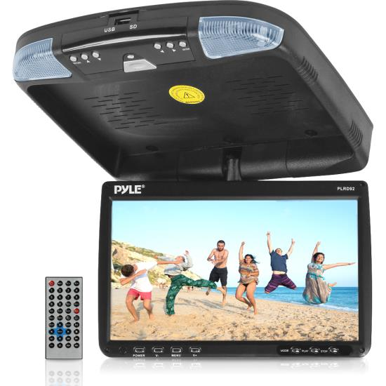 Pyle - PLRD92 , On the Road , Overhead Monitors - Roof Mount , 9'' Flip Down Roof Mount Monitor & Multimedia Disc player with Wireless FM Modulator/ IR Transmitter