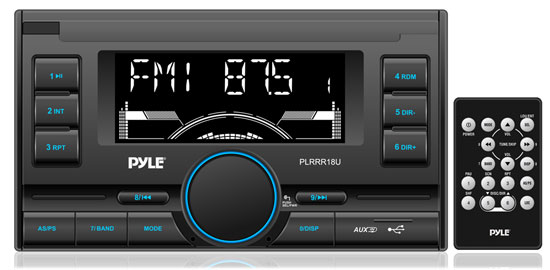 Pyle - PLRRR18U , On the Road , Headunits - Receivers , Digital Receiver with USB/SD Memory Card Readers, AM/FM Radio, AUX Input, Remote Control, Double DIN