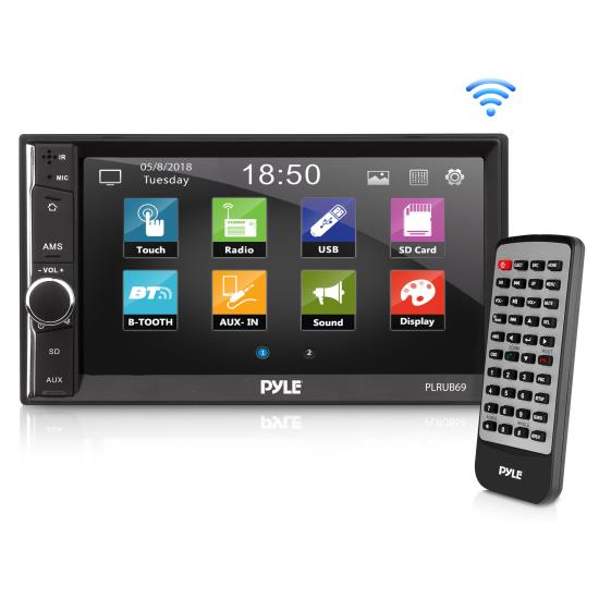 """Pyle - PLRUB69 , On the Road , Headunits - Stereo Receivers , 6.5"""" Touch Screen Stereo Radio Receiver with Bluetooth Streaming, Hands-Free Call Answering, USB/SD Memory Card Readers, AUX/MP3 Input, Double DIN"""
