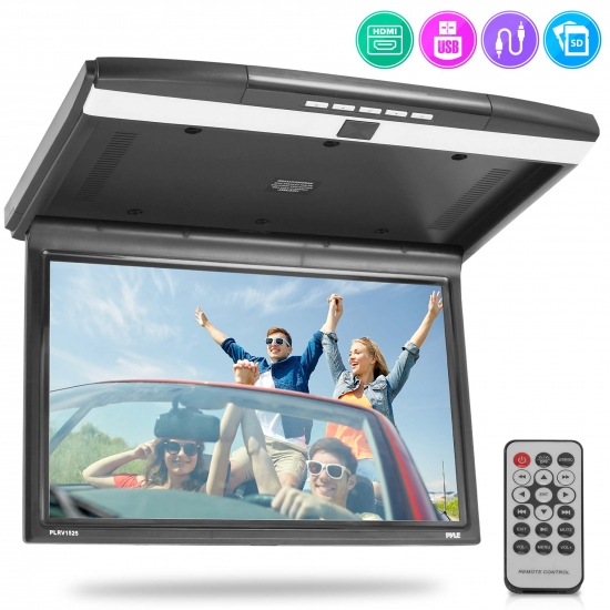 Pyle - PLRV1525 , On the Road , Overhead Monitors - Roof Mount , Vehicle Flip-Down Display Screen - Roof Mount Monitor with 1080p Support, HDMI/USB/ Micro SD/IR/FM Transmitter, AV Input/Output, (15.6'' -inch Display)