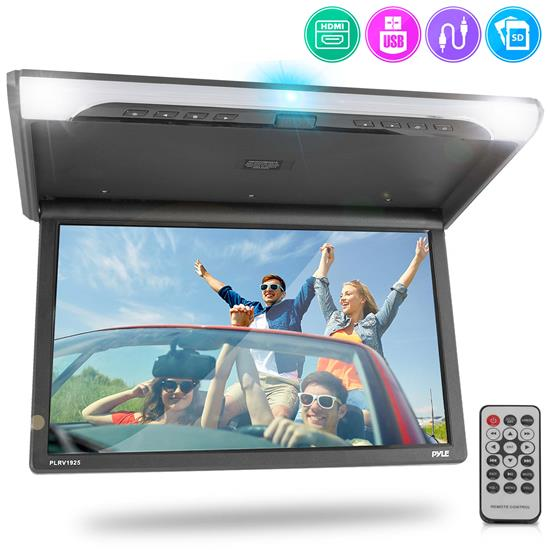 Pyle - PLRV1925 , On the Road , Overhead Monitors - Roof Mount , Vehicle Flip-Down Display Screen - Roof Mount Monitor with 1080p Support, HDMI/USB/ Micro SD/IR/FM Transmitter, AV Input/Output, (19.4'' -inch Display)