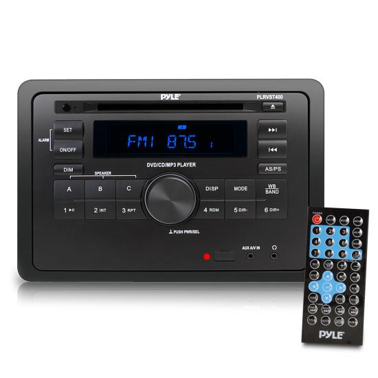 Pyle - PLRVST400 , On the Road , Headunits - Stereo Receivers , RV Wall Mount Audio/Video Receiver - AV Stereo Headunit with Wireless Bluetooth Streaming, Multimedia Disc Player, HDMI ARC, AUX/MP3/USB Reader