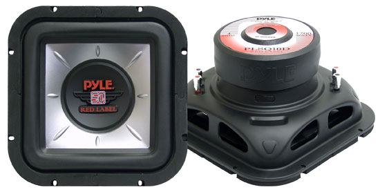 Pyle - PLSQ10D , On the Road , Vehicle Subwoofers , 10'' 1200 Watt  Square DVC Subwoofer