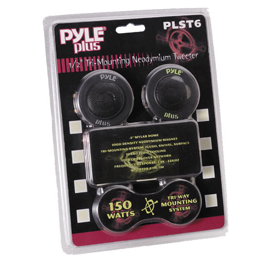 Pyle - PLST6 , On the Road , Tweeters , 1/2'' 150 Watt Mylar Dome Tri-Mount Tweeter