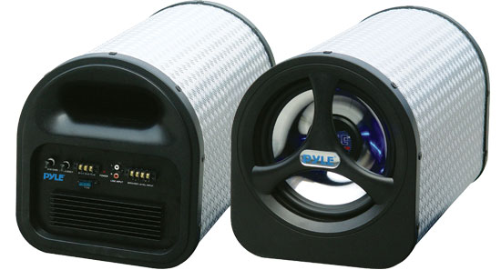Pyle - PLTA8N , On the Road , Subwoofer Enclosures , 8'' 250 Watt Amplified Subwoofer Tube