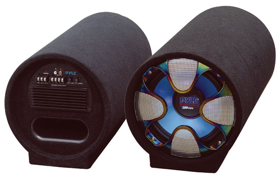 Pyle - PLTAB8 , On the Road , Subwoofer Enclosures , 8'' 250 Watt Amplified Subwoofer Tube