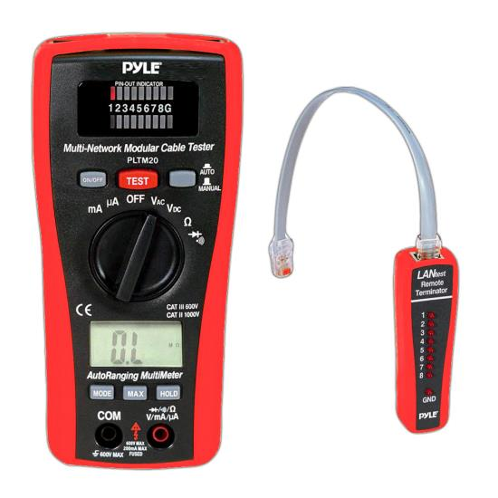 Pyle - PLTM20 , Personal Electronics , Meters & Testers , 2 in 1 LAN Tester and Multimeter with Voltage, Current, Resistance, Continuity, and Diode Tester