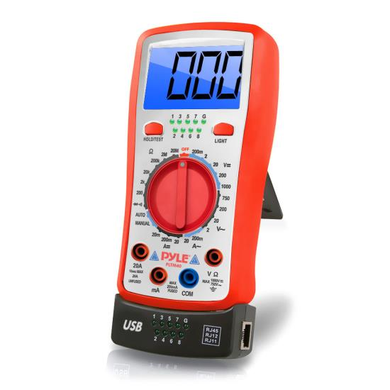 Pyle - PLTM40 , Tools and Meters , Multimeters - Electrical , Digital Backlit LCD Multimeter, AC, DC, Volt, Current, Resistance, Transistor and Range Measurement with Protective Rubber Case