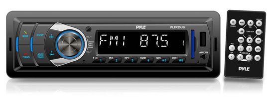 Pyle - PLTR25UB , Car Audio , Car Stereos , In-Dash Bluetooth Digital Receiver Headunit with USB/SD Card Readers, MP3/AUX-Input, AM/FM Radio, DC 12-24V Dual Voltage System Compatible with Car, Bus, Truck, RV, etc.