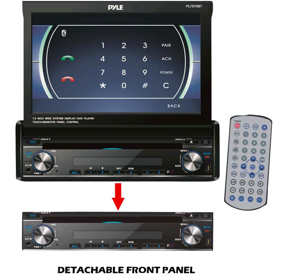 Pyle - PLTS70BT , On the Road , Headunits - Receivers , 7'' Single DIN In-Dash Motorized Touch Screen TFT/LCD Monitor w/ Multimedia Disc/CD/MP3/MP4/USB/SD/AM-FM/Bluetooth and Screen Dial Pad