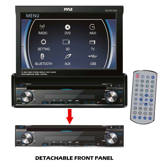 Pyle - PLTS71DU , Mobile Video / Navigations , In-Dash DVD With Monitors , 7'' Single DIN In-Dash Motorized Touch Screen TFT/LCD Monitor w/ Multimedia Disc/CD/MP3/MP4/USB/SD/AM-FM Receiver