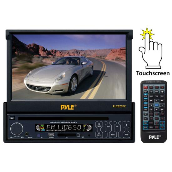 Pyle - AZPLTS73FX , On the Road , Headunits - Stereo Receivers , 7'' Single DIN In-Dash Motorized Touch Screen TFT/LCD Monitor w/ Multimedia Disc/MP3/MP4/USB/SD/AM-FM Player