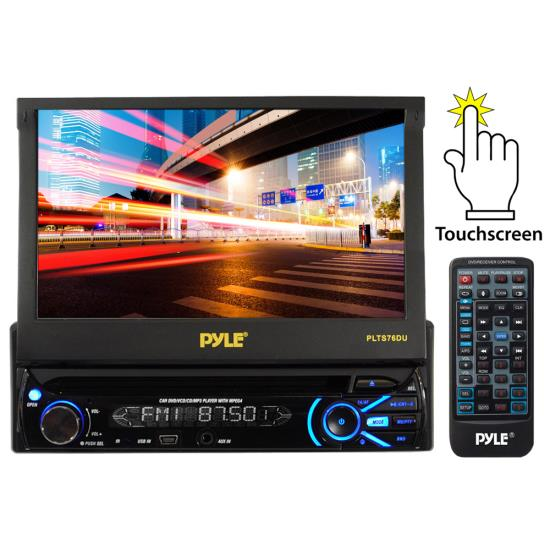 Pyle - plts76du , On the Road , Headunits - Stereo Receivers , 7'' Touch Screen Motorized Detachable TFT/LCD Monitor With Multimedia Disc/MP3/AM/FM Receiver
