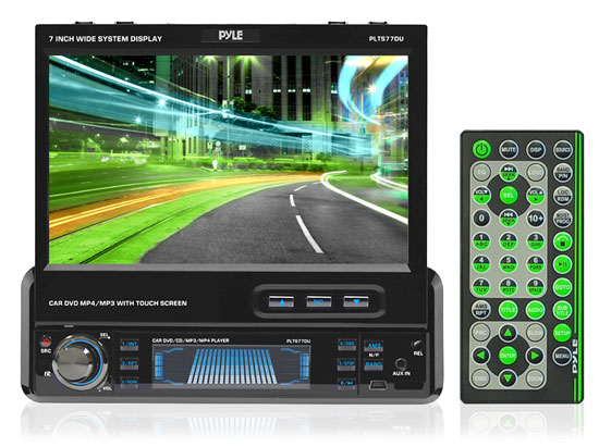Pyle - PLTS77DU , On the Road , Headunits - Receivers , 7'' Single DIN In-Dash Motorized Touch Screen TFT/LCD Monitor w/ Multimedia Disc/CD/MP3/MP4/USB/SD/AM-FM/RDS Receiver