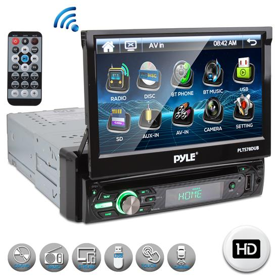Pyle - PLTS78DUB , On the Road , Headunits - Stereo Receivers , Car Stereo Video Receiver with Multimedia Disc Player, Bluetooth Wireless Streaming, Hands-Free Talking, Motorized Fold-Out 7'' Touchscreen Display, MP3/USB/AM/FM Radio, Single DIN