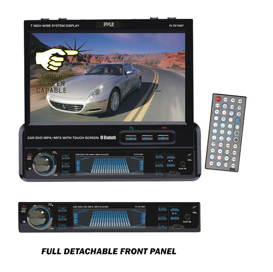Pyle - PLTS79BT , Mobile Video / Navigations , In-Dash DVD With Monitors , 7'' Single DIN In-Dash Motorized Touch Screen TFT/LCD Monitor w/ Multimedia Disc/CD/MP3/MP4/USB/SD/AM-FM/RDS/Bluetooth & Screen Dial Pad