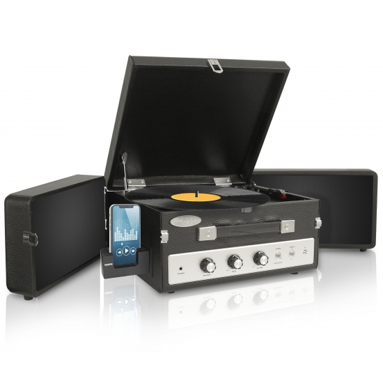 Pyle - PLTTB8UI , DJ Equipment , Turntables , Classical Vinyl Turntable Record Player With PC Encoding/iPod Player/AUX Input & Dual Fold-Out Speaker System