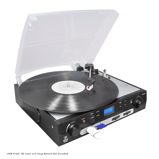 Pyle - PLTTB9U , Musical Instruments , Turntables - Phonographs , Sound and Recording , Turntables - Phonographs , USB Turntable with direct-to-digital USB/SD Card Encoder & Built-in AM/FM Radio conversion