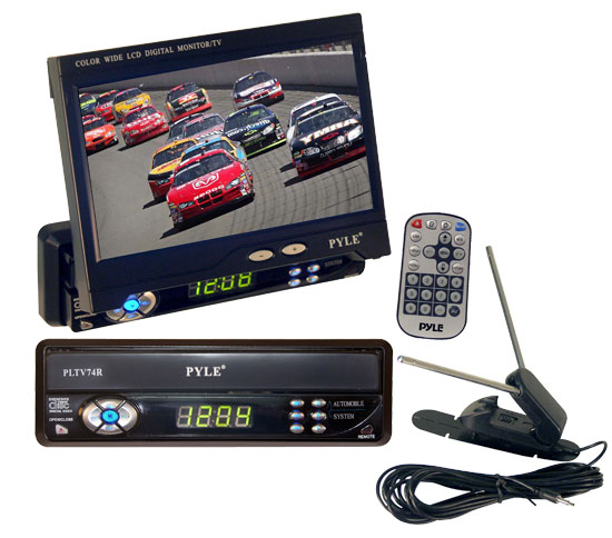 "Pyle - PLTV74R , On the Road , Headunits - Stereo Receivers , 7"" TFT Single DIN Motorized Monitor With Tv-Tuner"