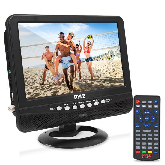 """Pyle - PLTV9553 , On the Road , Video Monitors , 9"""" Portable TV Tuner Monitor Display Screen with Built-in Rechargeable Battery, USB/Micro SD Readers (Analog ATSC/DTV Support)"""