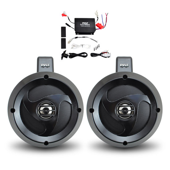 Pyle - PLUTVA102 , On the Road , Motorcycle and Off-Road Speakers , 2 Channel Waterproof  Dual Wakeboard 4'' UTV/ATV/Snowmobile/Marine Amplified Speaker System Includes (2) 4'' Marine Grade Speakers