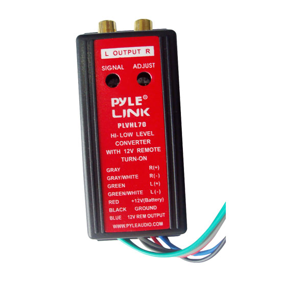 Pyle - PLVHL70 , On the Road , Plug-in Audio Accessories - Adapters , 2-Channel HI Level To Low Level Converter with 12V Remote Turn-On