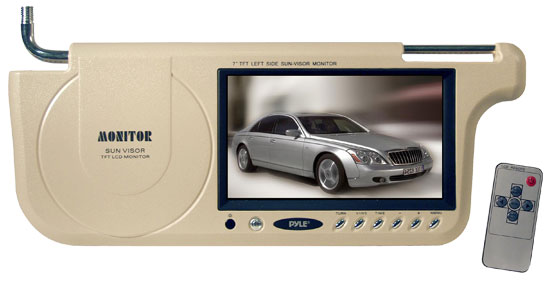 Pyle - PLVSL7T , On the Road , Video Monitors , 7'' TFT Left Side Sunvisor Monitor (Tan)