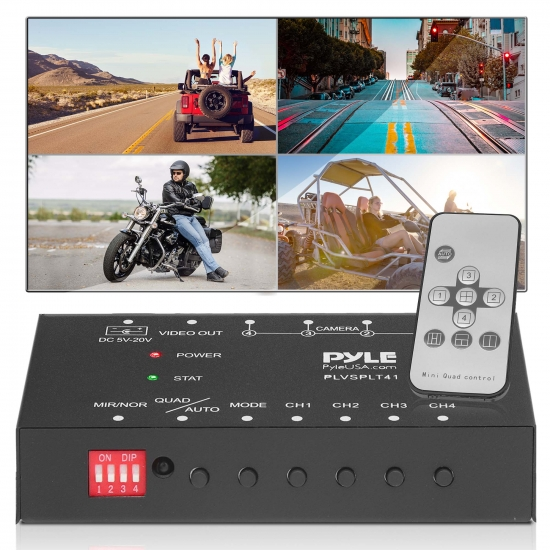 Pyle - PLVSPLT41 , On the Road , Video Monitors , Video Splitter Controller - Quad View 4-Ch. Video Signal Picture Switcher for Backup Camera Video Monitor Systems (Car, Truck, Bus, Trailer Vehicles