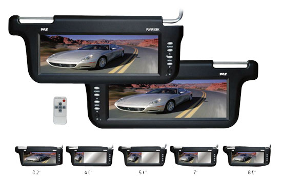 Pyle - PLVSR10BK , On the Road , Video Monitors , Pair of 10.2'' TFT/LCD Left & Right Sun Visor Monitors (Black Color)