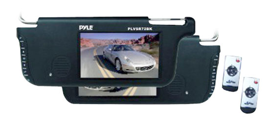 Pyle - PLVS92BK , Mobile Video / Navigations , Sun Visor Monitors , Pair of 7'' TFT/LCD Left & Right Sun Visor Monitors (Black)