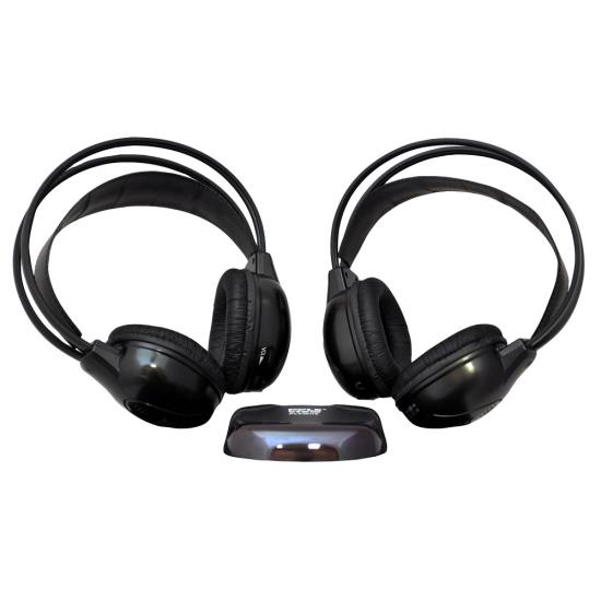 Pyle - PLVWH6 , On the Road , Wireless Headphones , Dual Wireless IR Mobile Video Stereo Headphones w/Transmitter