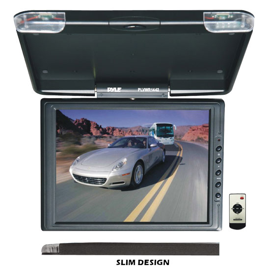 Pyle - PLVWR1442 , On the Road , Overhead Monitors - Roof Mount , 14.7'' High Resolution TFT Roof Mount Monitor & IR Transmitter