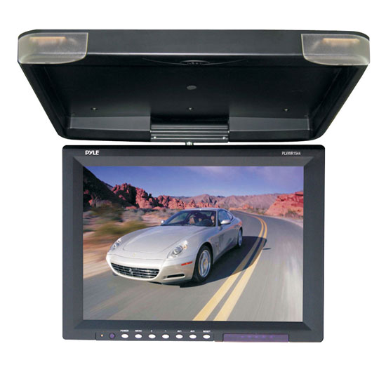 Pyle - PLVWR1544 , On the Road , Overhead Monitors - Roof Mount , 15.1'' Hi-Res Flip Down Roof Mount LCD Monitor & IR Transmitter (Black)