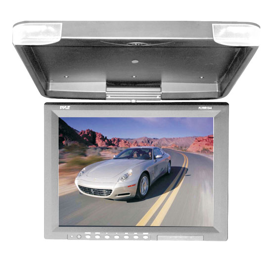 Pyle - PLVWR1544GR , On the Road , Overhead Monitors - Roof Mount , 15.1'' Hi-Res Flip Down Roof Mount LCD Monitor & IR Transmitter (Grey)