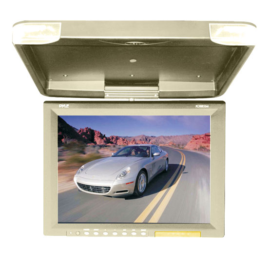 Pyle - PLVWR1544TN , On the Road , Overhead Monitors - Roof Mount , 15.1'' Hi-Res Flip Down Roof Mount LCD Monitor & IR Transmitter (Tan)