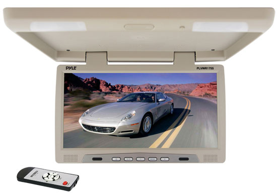 Pyle - PLVWR1755 , On the Road , Overhead Monitors - Roof Mount , 17'' inch Flip Down Roof Mount Overhead Monitor with Built-in Wireless IR Transmitter
