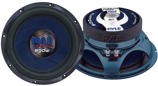 Pyle - PLWB104X , Car Audio , Subwoofers , 10 Inch , 10'' 800 Watt Molded Blue Cone Subwoofer