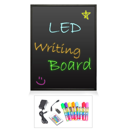 Pyle - PLWB3040 , Home and Office , Arts and Crafts , Erasable Illuminated LED Writing Board w/ Remote Control and 8 Fluorescent Markers, 16'' x 12''