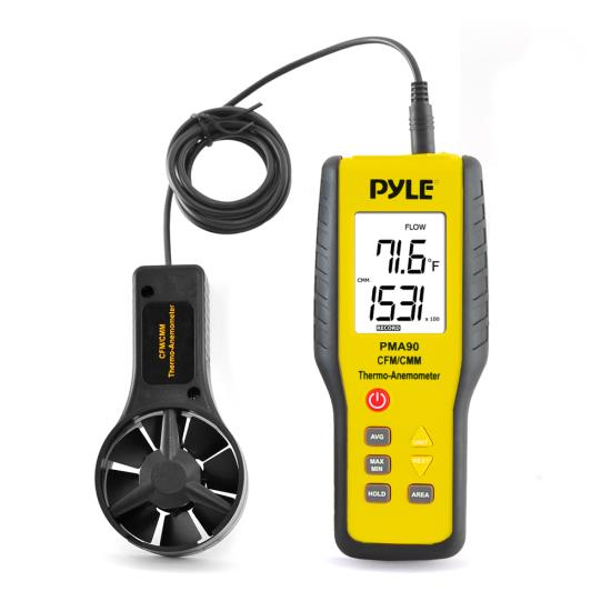 Pyle - PMA90 , Tools and Meters , Temperature and Humidity , 2-in-1 Digital Anemometer & Thermometer - Air Velocity (Wind), Air Flow (Volume) and Temperature Meter