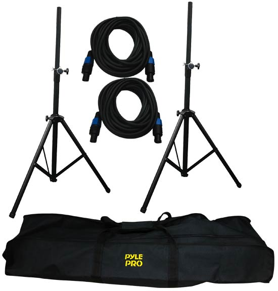 Pyle - PMDK101 , DJ Equipment , Stands , Heavy-Duty Aluminum Anodizing Dual Speaker Stand & 21FT Speakon Cable Kit