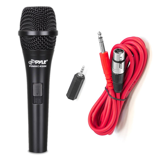 Pyle - PMIKC45BK , DJ Equipment , Microphones , Handheld Vocal Condenser Microphone W/ 15ft XLR-to-1/8'' Cable & 1/4'' Adaptor