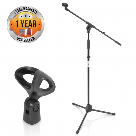 Pyle - PMKS3 , Musical Instruments , Mounts - Stands - Holders , Sound and Recording , Mounts - Stands - Holders , Tripod Microphone Stand, Height Adjustable Mount, Extending Boom Mic Arm