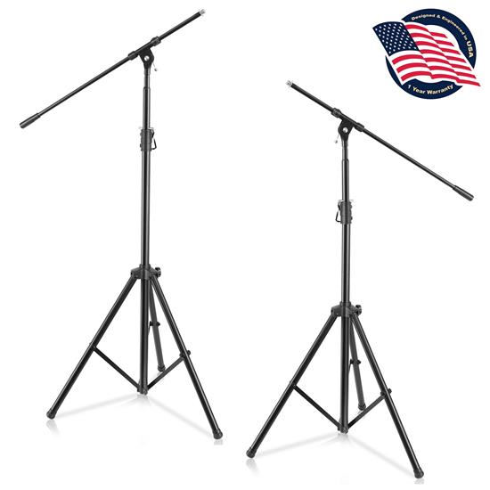 Pyle - PMKS56X2 , Musical Instruments , Mounts - Stands - Holders , Sound and Recording , Mounts - Stands - Holders , 2 Pcs. Heavy-Duty Tripod Boom Microphone Stand - Height Adjustable and Boom Extendable Mic Stand