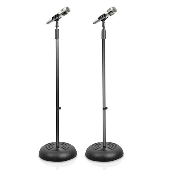 Pyle - PMKS5X2 , Musical Instruments , Mounts - Stands - Holders , Sound and Recording , Mounts - Stands - Holders , Microphone Stand - Universal Mic Mount with Heavy Compact Base, Height Adjustable (Pair)