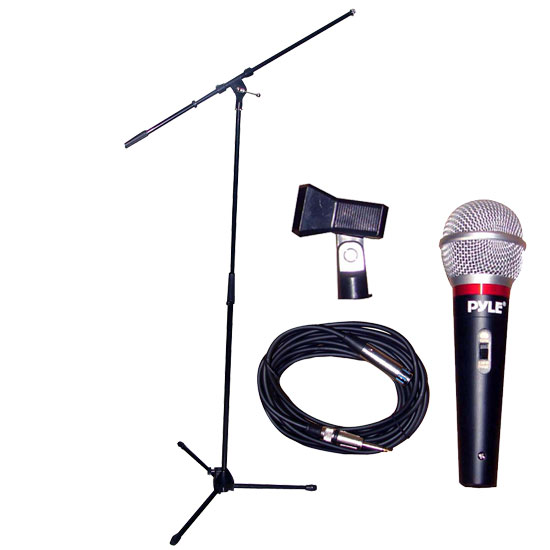Pyle - PMKS6K , DJ Equipment , Microphones , Microphone and Tripod Stand With Extending Boom & Mic Cable