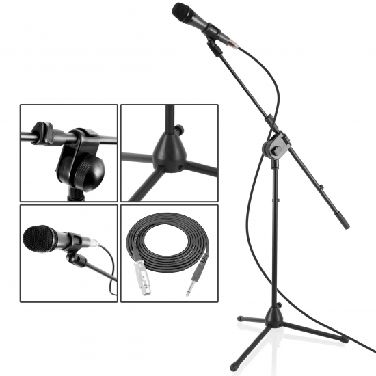 Pyle - PMKSM20 , Musical Instruments , Mounts - Stands - Holders , Sound and Recording , Mounts - Stands - Holders , Dynamic Microphone and Tripod Mic Stand, Height Adjustable, Extending Boom, Includes 15' ft. XLR Cable