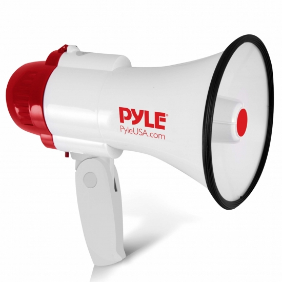 Pyle - PMP35R , Home and Office , Megaphones - Bullhorns , Sound and Recording , Megaphones - Bullhorns , Megaphone PA Bullhorn with Built-in Siren, Record Function with 10 Second Memory, Adjustable Volume Control and 800 Yard Range