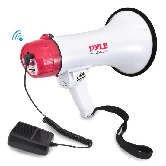 Pyle - PMP42BT , Home and Office , Speakers, Indoor, Outdoor , Bluetooth Megaphone Bullhorn with AUX (3.5mm) Input Built-in USB Flash & SD Memory Card Readers